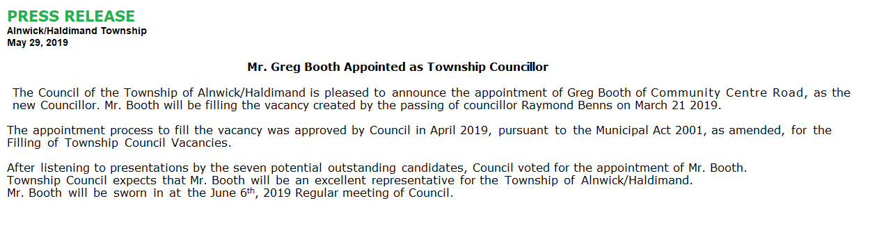 Greg Booth announced as new Councillor for A/H