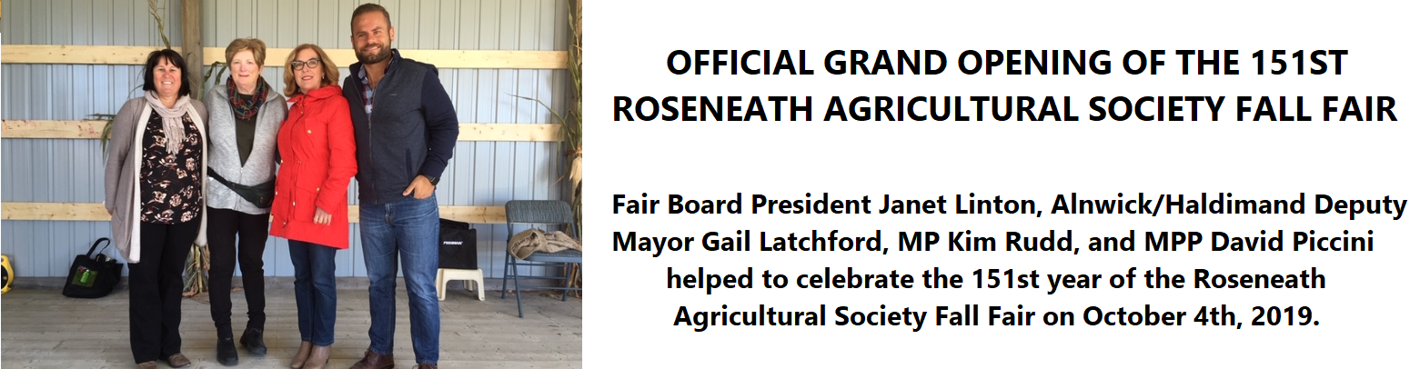 Grand Opening of the Roseneath Agricultural Society Fall Fair