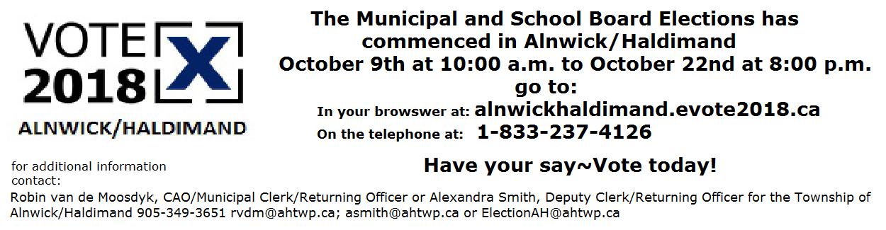 Voting has commenced in Alnwick Haldimand Oct 9 to Oct 22