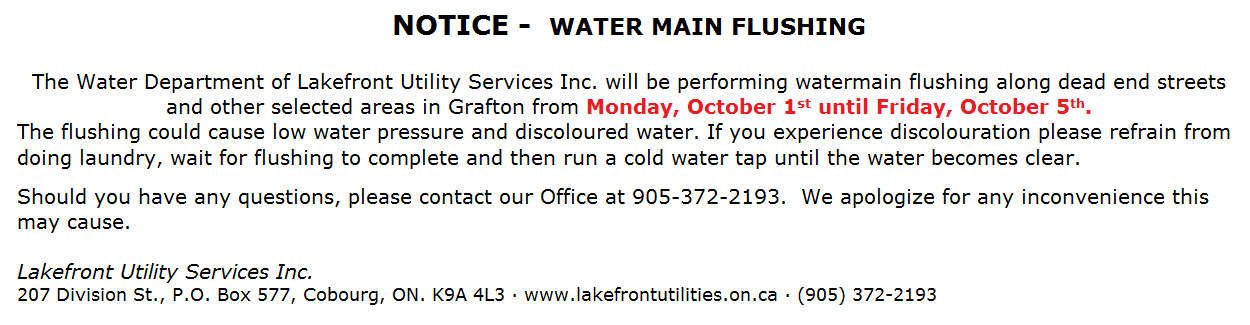 Watermain Flushing Grafton